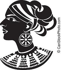 Weibliches Profil im afrikanischen Stil