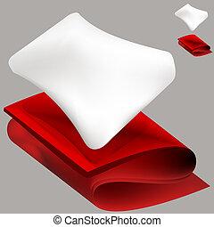 Weiches Kissen und rote Decke