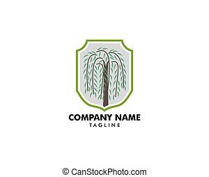 weide, logo, symbol, baum, vektor