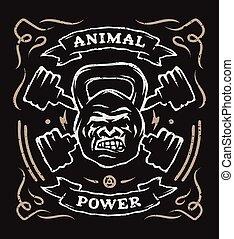 weight., kopf, gorilla, zwei, hantel