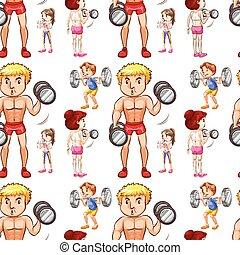 weightlifting, seamless, hintergrundleute