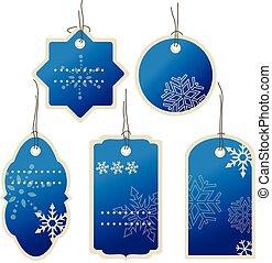 Weihnachten Blau nad Winter Preisschilder.