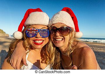 weihnachten, frauen strand, glücklich