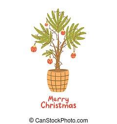 weihnachten, garland., baum., alternative, kugeln, handfläche, lampe