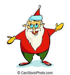 weihnachten, illustration., claus, santa