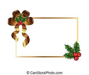 weihnachten, kugeln, rahmen, schleife, goldenes, blättert