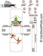weihnachten, neu , vektor, animals., baum, claus, santa, kasten