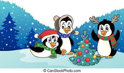 Weihnachten Pinguine thematische Bild 3.