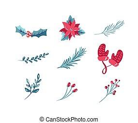 weihnachten, satz, abbildung, dekoration, snowflake., schleife, mistel, elemente, vektor, freigestellt, heiligenbilder, feiertag