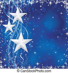 Weihnachten / Winter mit Stars, Schneeflocken und Wattelinien im blauen Hintergrund mit Lichtpunkten für deine festlichen Anlässen. Keine Transparenzen.