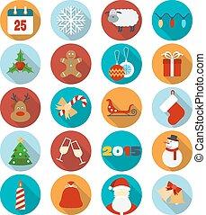 Weihnachts-Flach-Icons eingestellt. Vector Illustration