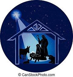 Weihnachts-Genie-Szene in der Nacht.