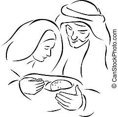 Weihnachts-Gesellschaft Szene mit der heiligen Familie - Baby Jesus, Jungfrau Maria und Joseph (vector Illustration).