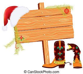 Weihnachts-Hintergrund für SMS mit Cowboy-Elementen auf weiß