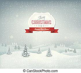 Weihnachts Hintergrund mit Winterlandschaft.