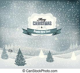 Weihnachts Hintergrund mit Winterlandschaft. Vector.