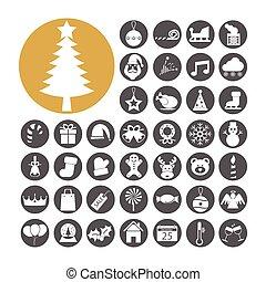 Weihnachts-Icon setzt Vektor-Darstellung.