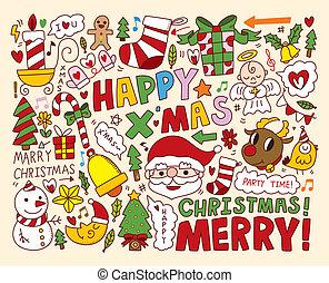 Weihnachts-Ikonen sammeln Gegenstände
