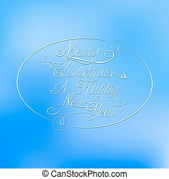 Weihnachts Kalligraphie auf blauem Flecken.