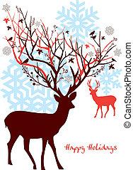 Weihnachts Rehe mit Baum, Vektor