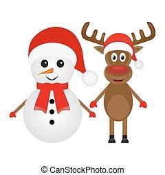 Weihnachts-Rentier und Schneemann