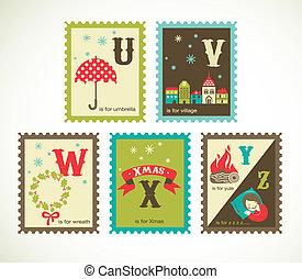 Weihnachts-Retro-Alphabet mit süßen Ikonen.