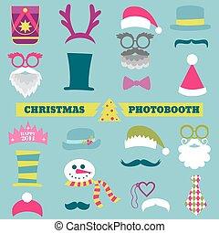 Weihnachts-Retro-Partei - Brille, Hüte, Lippen, Schnurrbart, Masken - für Design, Fotokabine im Vektor