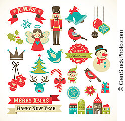 Weihnachts-Retrokonen, Elemente und Illustrationen