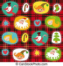 Weihnachts-Set, karierte Teermuster-Hintergrund, Verpackungspapier