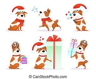 Weihnachts-Trickfilm-Hund-Emoticons gesetzt. Xmas Wohnung Welpen Emoji Sammlung. Happy Terrier mit Hirschhorn und Santa-Hut isoliert auf weißem Hintergrund. Weihnachten oder Neujahr 2018 Vektorgrafik