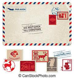 Weihnachts-Vantage-Postkarte mit Postsendungen - für Design, Sammelalbum - im Vektor