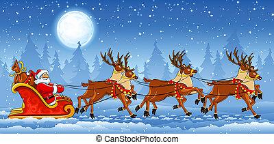 Weihnachts Weihnachtsmann fährt auf Schlitten