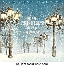 Weihnachtsabend Landschaft mit alten Laternenpfosten. Vector.