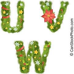Weihnachtsalphabet, Vektorgrafik, Eps 10.