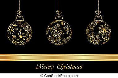 Weihnachtsbällchen aus goldenen Schneeflocken.