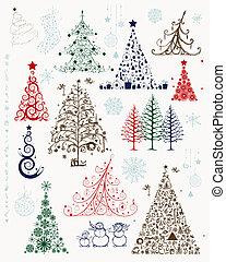 Weihnachtsbäume und Dekorationen für dein Design