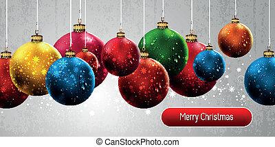 Weihnachtsbanner mit bunten Globen à EPS10 Vektor-Hintergrund