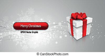 Weihnachtsbanner mit Geschenkkasten à EPS10 Vektor Hintergrund