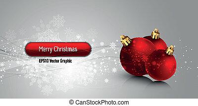 Weihnachtsbanner mit rotem Globus  ⁇  EPS10 Vektor Hintergrund