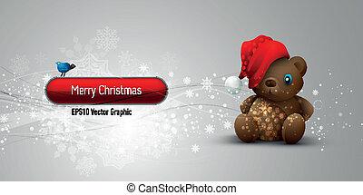 Weihnachtsbanner mit Teddybär à EPS10 Vektor-Hintergrund