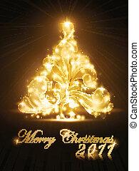 Weihnachtsbaum 2011-Karte mit goldenem Leuchten und Funkeln