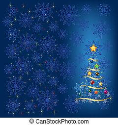 Weihnachtsbaum mit Dekoration und blauer Schneeflocke