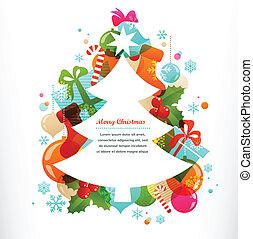 Weihnachtsbaum mit Etiketten und dekorativen Elementen.
