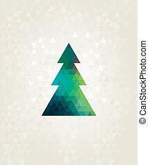 Weihnachtsbaum mit farbenfrohen Dreiecksdiamanten.
