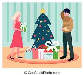 weihnachtsbaum, paar, szene, geschenk