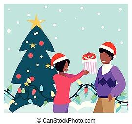 weihnachtsbaum, paar, szene, kästen, geschenk