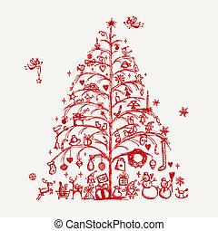 Weihnachtsbaum-Sketch für dein Design