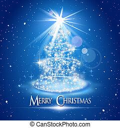 Weihnachtsbaum und Licht über dem blauen Hintergrund