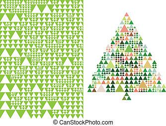 Weihnachtsbaum und Muster, Vektor