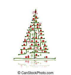 Weihnachtsbaumskizze für dein Design.